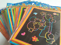 Wholesale cm Magic Color Scratch Art Paper Scraping Drawing Picture children s toys