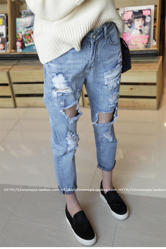 2017 New Design Ripped Jeans Women Summer Vintage Denim Hole Pants ...