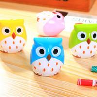 Wholesale PC Creative Cute Owl design Double orifice Mini pencil sharpener children cartoon pencil sharpener