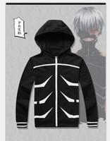 Wholesale Anime Tokyo Ghoul Ken Kaneki Halloween party Zipper black cotton Hoodie Jacket Tops cosplay Costume