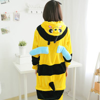 adult customes - Halloween Cosplay Pajamas adult unisex Cartoon Sleepwear Animal Little Bee Honeybee Onesie Cosplay customes Easy toilet