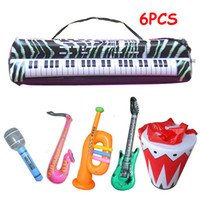 Wholesale set simulation Inflatable game toys musical instrument drum set organ sax horn Microphone guitar toys for children