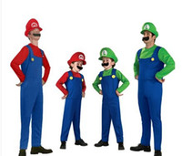 beard hat for kids - children costumes super mario bros Luigi figure cosplay costume onesies for kids and adults with Hat and beard Birthday Gift
