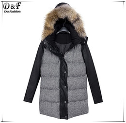 Wholesale-Winter Women 2015 Mujer Abrigos Fashion Brand Designer Overcoat Causal Black Faux Fur Hooded Parka Long Sleeve Houndstooth Coat