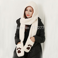 bear hat with paws - Winter Cartoon Christmas Plush Animal Fur Hat with Scarf Bear Paws with Glove and Mitten for Women Hat Scarf Set Winter Hat