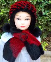 designer hat and scarf - European Vogue Designer Luxury Handmade knitted Genuine mink Fur protector cap hat and real Mink fur scarves set christmas gift