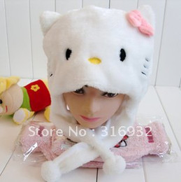 Wholesale Lovely Cartoon Plush Animal White Hello Kitty Warm Beanie Hat Winter Adult Women Children Kids Girls Fluffy Cosplay Costume Earclap Hat