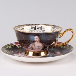 Wholesale European Royal Vintage Teacups Bone China Mug Tea Porcelain Cups Coffee Cup amp Saucer Oil Painting Empress Josephine Cute Tea Cups