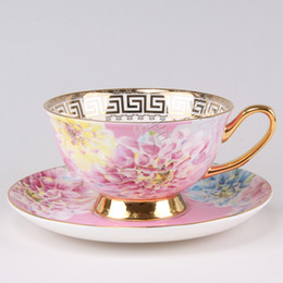 Wholesale European Royal Bone China Mug Tea Cup Coffee Cups And Saucers Pink Flower Teacup and saucer Turkish Coffee Cups with Gold Rim