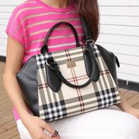 Wholesale New arrival classic british style plaid amp check women designer handbags fashion michaelled tote shoulder bag birk YS black