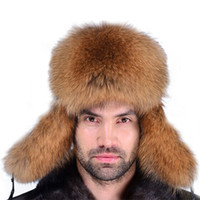 age ski - Free ship Men Genuine raccoon dog Fur Russian Hat Winter Warm Ski Furry outdoor hat for men fur cap middle aged Lei Feng hat
