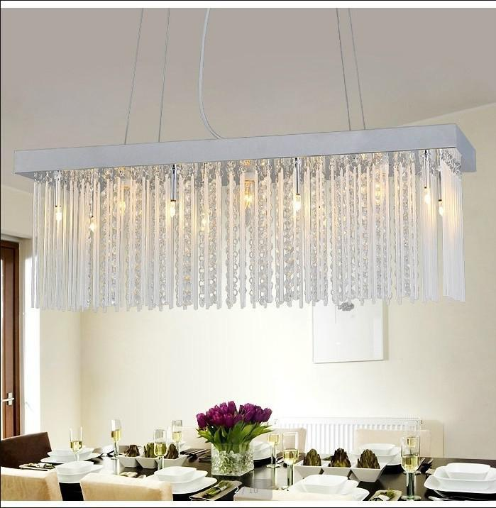 wholesale rectangular crystal chandelier modern minimalist restaurant dining bar table lamp living room lamp lighting lamp light sensor lamp night light - Dining Room Crystal Lighting