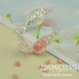 Wholesale P2274 MM Silver Plated Filigree Cage Pendant Pearl Cage Tear Drop Brass Sea Glass Lockets MOQ