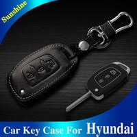 hyundai ix45 - Fashion Genuine Cow Leather Car Key Case Keychain Black Brown For Hyundai Elantra Santafe Miatra Sonata Verna I30 IX35 IX45