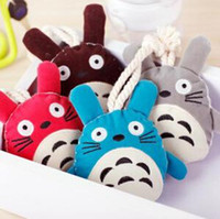 Cheap Wholesale-Super Cute Plush Cartoon Animal Totoro Keychain Portable Rope Pull-out Key Wallets Case Christmas Gift