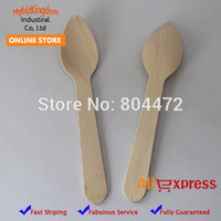 disposable spoon - Disposable Wooden Small Spoon Pack inch Flatware Camping Dessert spoon cm Party Wooden cutlery catering XMAS