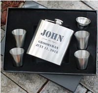 bachelor party gifts - Personalized Silver Flask Set Groomsmen Gift Bachelor Party Hip Spirit Flask Custom Engraved Monogrammed AF0191