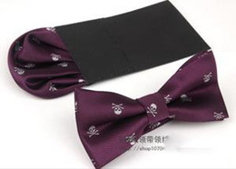 Wholesale-Pocket towel+Bow tie Polyester butterfly ties for men Skull Pattern gravata bow tie cravat Bowt50
