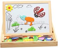 art easel set - Multifunctional Wooden Chalkboard Animal Magnetic Puzzle Whiteboard Blackboard Drawing Easel Board Arts Toys for Children Kids