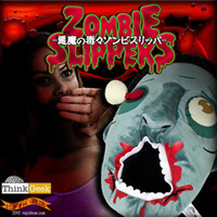 Wholesale Pair Plush Zombie Slippers Whimsy Zombie Slippers Indoor Slippers