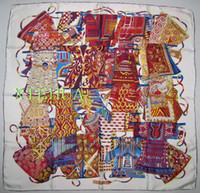 Square silk twill scarf - VOYAGE EN ETOFFES SILK TWILL SCARF HAND ROLLED x90cm red orange black yellow HER MESS
