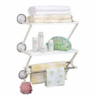 Wholesale The bathroom accessories multi functional commodity shelf space Double Stainless steel towel shelf rack