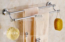Wholesale Modern Crystal Decorated Bathroom Towel Holder Dual Bars Towel Hanger Wall Mount