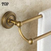 Wholesale Antique brass Bathroom double towel bar cm double layer bathroom towel holder