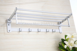 online shopping Wall Mounted Space Aluminium Folding Bath Towel Holder Towel Rack Towel Rail Bathroom Accessories