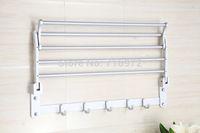 bath towel rails - Wall Mounted Space Aluminium Folding Bath Towel Holder Towel Rack Towel Rail Bathroom Accessories