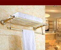bathroom shelf tower - Foldable Stainless Steel Golden Plating Towel Bar Set Rack Bathroom Tower Rack Holder Hanger Bathroom Hotel Shelf