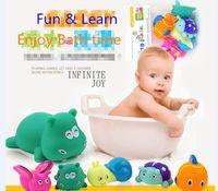 baby sound big - Big Size BB sound Baby Toys Kids Mixed Animal Bath Toy Educational Washing Set Squeeze Water Spraying Toy