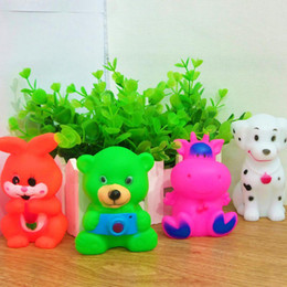 Wholesale Cartoon Animals Rubber Dolls Safety Baby Bath Water Toys Creative Press Sounds Kids Swiming Beach Toys Sand Play Water Fun