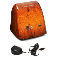 Wholesale Jebely Burl Wood Finish Double Watch Winder Off White Leather Settings