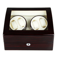 Wholesale porta relogio Leather Automatic Rotation luxury wood Watch Winder Storage Case Display Box caixa relogio couro