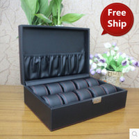 bell key case - Grid Watch Box Jewelry Box Top Leather Organizadora Boxe Caja For Clock Bell Hours Watch Winder Watch Winder Case With Key