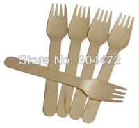 Wholesale Eco Friendly Disposable Wooden Fork Heavy Weight Pack cm Flatware cutlery birch wood dessert