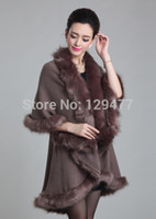 Wholesale New Arrival Women Charm Cashmere Poncho With Faux Fox Fur Trim Collar Women Fashion Winter Shawl JQ2041