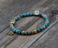 bead exclusive - Exclusive MM Natural Jasper with Budda and Elephant Bead Bracelets Tibetan Elastic Bracelet Handmade Natural Stone Bracelet