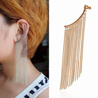 Wholesale Top Quality New Punk Cuff Earring Pearl Long Tassel Spike Ear Cuff Earcuff Cuff Clip Earrings For Women Clips Jewelry