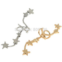 Wholesale PC Hot Korean Chic Fashion Gold Silver Plated Star Ear Bone Clip On Ear Cuff Earrings Women Jewelry Gifts Drop Free