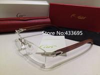 Wholesale Brand men and women fashion spectacle optical eyeglasses rimless glasses frame wooden leg half rim frame