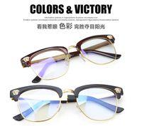 Wholesale Vintage semi rimless metal spectacle Frame Glasses oculos de sol original clear lens eye women eyeglasses men eyewear s0561