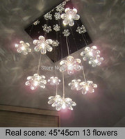 Wholesale Chandalier Lighting Garden Ceiling Lights decorative pieces square clear crystal flowers Bedroom Modern Light