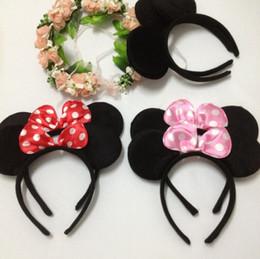 Promotion accessoires de cheveux pour les bébés filles Gros-1PC Minnie oreilles bandeaux Cheveux Sticks bandes Chapeaux Accessoires cheveux de bande Minnie Mouse Head Birthday Party bébé Femmes Filles