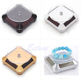 Wholesale-Free shipping Solar Showcase 360 Turntable Rotating Jewelry Watch Ring Phone Stand Display