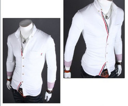 Wholesale Men s Turn down Collar Long Sleeve Single Breasted Decorative Striped Casual Business Shirts Camisas Baju