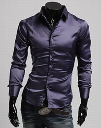 Wholesale-2015 New Spring Summer Dress Shirts Male Artificial Silk Casual Luxury Dress Stylish Shirt Man's Fashion casual shirt Clothes