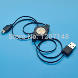 Wholesale-New Portable USB to Mini USB B 5 Pin Retractable Data Sync Charging Cables Black Y548 bUu7