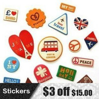 Wholesale DIY Cute Vintage Fashion PU Leather Sticker Vintage Travel Stickers for Computer Bags Decoration